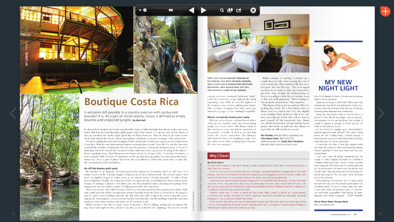 Boutique Costa Rica by Matt Bel, published at Bucks Life Magazine, Issue 36 (p.40-41), Dec 2014 - Jan 2015