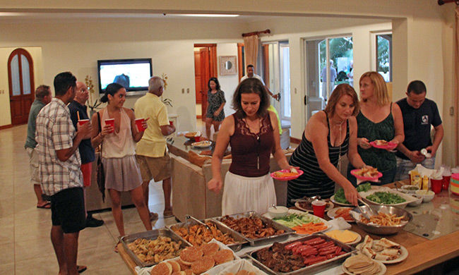 The superbowl party had plenty of food for our guests.